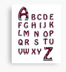 Set of ABC letters with abstract ethnic African patterns Canvas Print