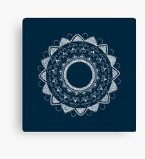 Healing my past blue and white hand drawn mandala Canvas Print