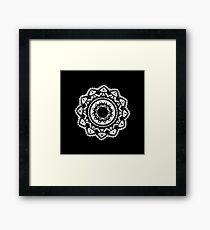 Cellular black and white mandala Framed Print