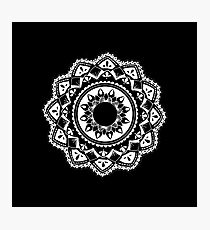 Cellular black and white mandala Photographic Print