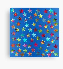 Colorful Pinwheels on Blue Background Canvas Print