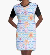 Daffodil Chevron Pattern Graphic T-Shirt Dress