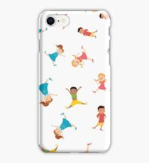 seamless pattern with cartoon kids,white background, iPhone Case/Skin