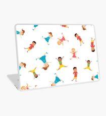 seamless pattern with cartoon kids,white background, Laptop Skin