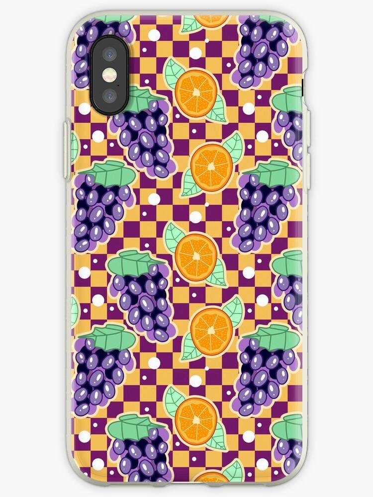 Grapes Orange Checkered Pattern by SaradaBoru