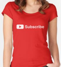 Youtuber Subscribe Play Button Vlogger Design Women's Fitted Scoop T-Shirt