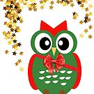 Christmas Owl with Stars by Olga