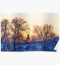 Winter. Village. Evening. Poster