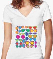 Eyeglasses Pattern Women's Fitted V-Neck T-Shirt