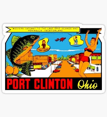 Port Clinton Ohio Walleye Vintage Travel Decal Sticker
