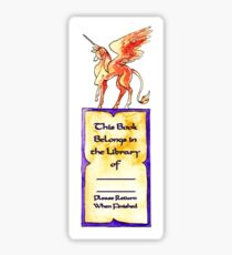 Orange Unicorn Pegasus Bookplate Sticker