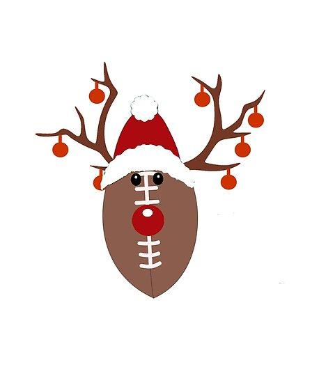 a55eccf75baea Football Reindeer Antlers Funny Christmas T-Shirt