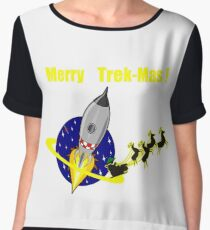 Star Spaceship Merry Trek-Mas T-shirt Chiffon Top