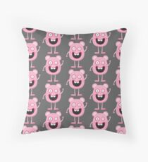 Cute,small,crazy,monsters,pink on grey background, kids,kid,modern,trendy Throw Pillow