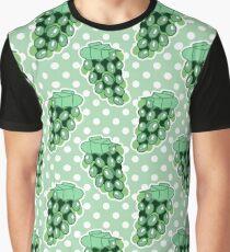 White Grapes Green Polk-a-dot Pattern Graphic T-Shirt