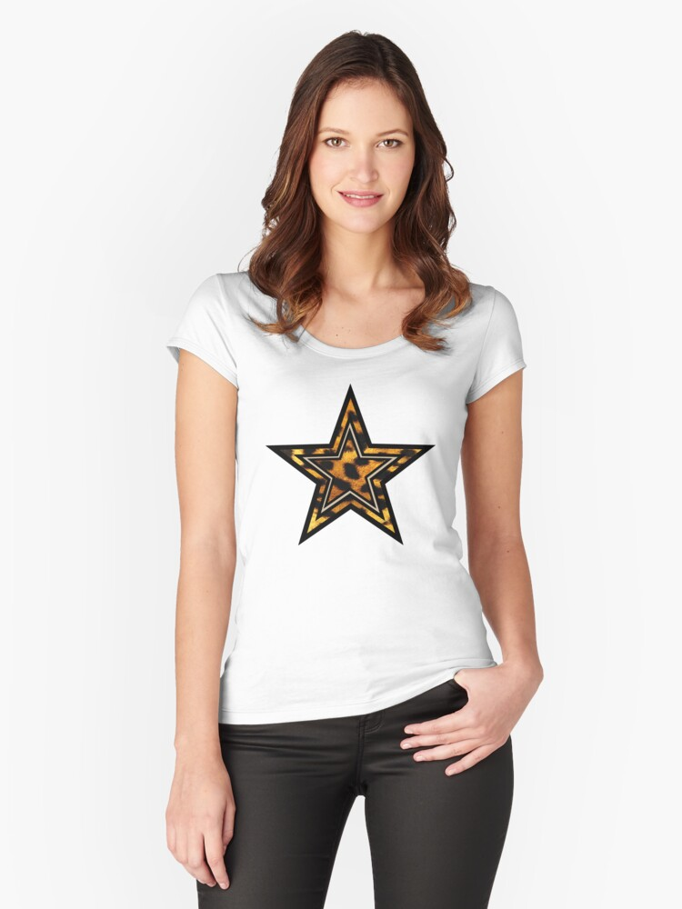 Leopard Star Women's Fitted Scoop T-Shirt Front