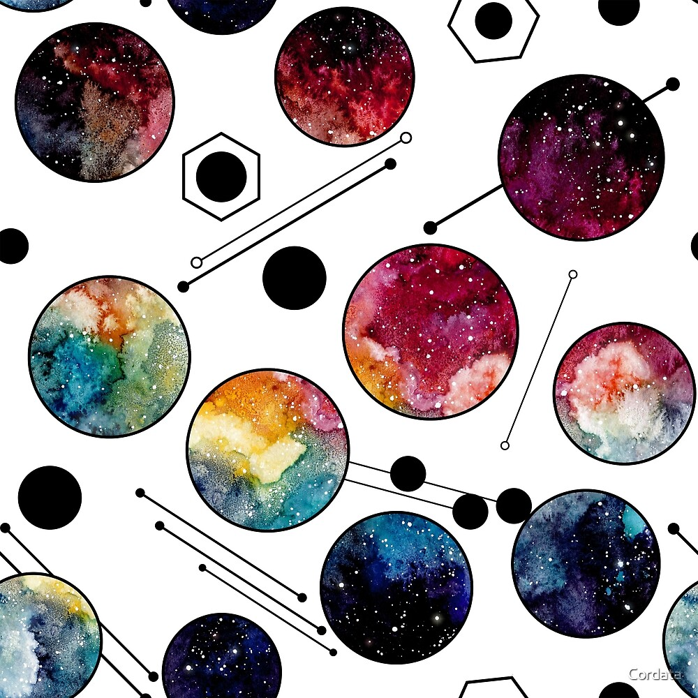 Watercolor Colorful Galaxy in Circles by Cordata