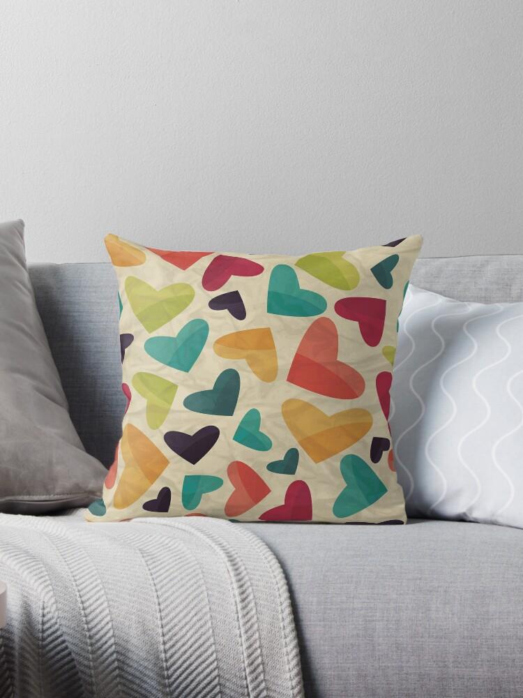 Rustic,heart,pattern,multicolor,retro,grunge,modern,trendy,valentine by love999