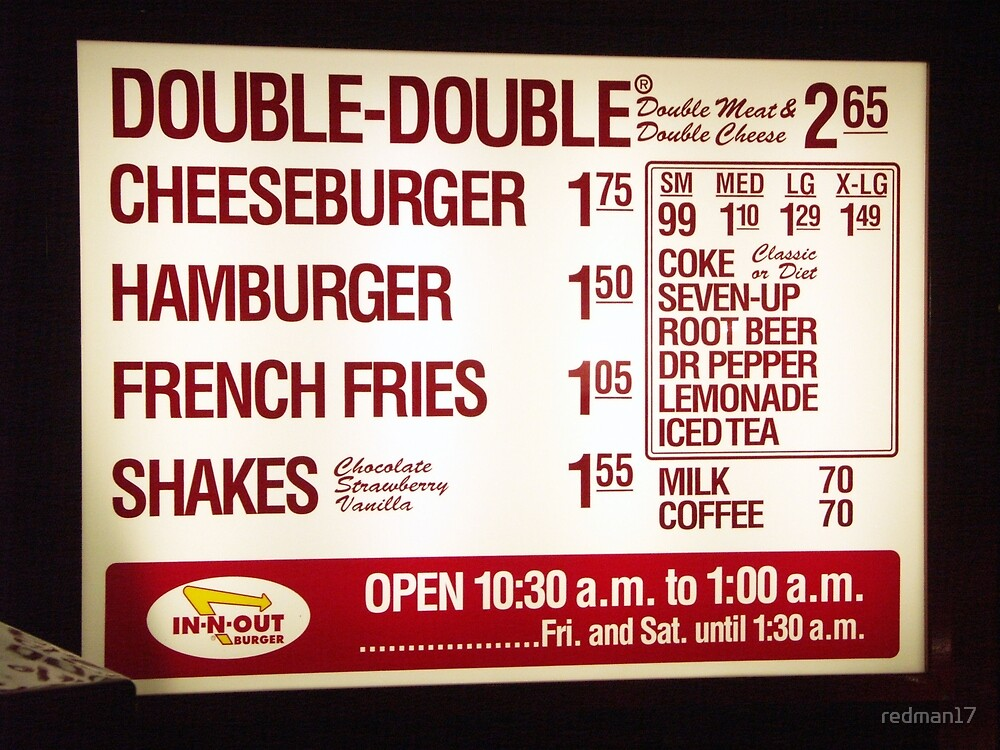 In-N-Out Menu by redman17