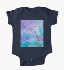 Body de manga corta para bebé Delfín de Vaporwave en el cielo