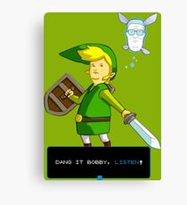 King of the Hill - Link from Zelda and Navi - Parody - Dang it Bobby, listen! Canvas Print