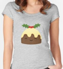 Cute Christmas Pudding Women's Fitted Scoop T-Shirt
