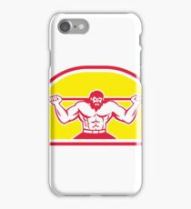 Bodybuilder Lifting Barbell Retro iPhone Case/Skin