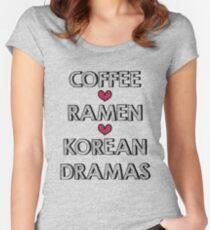 Coffee - Ramen - Korean Dramas Women's Fitted Scoop T-Shirt