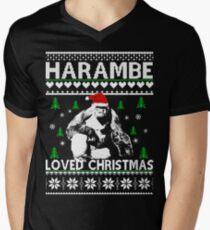 harambe loved christmas sweater mens v neck t shirt