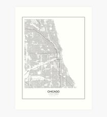 Minimalistische Karte von Chicago Kunstdruck