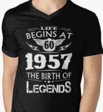 Life Begins At 60 1957 The Birth Of Legends Men's V-Neck T-Shirt