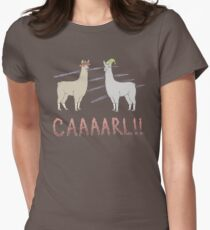 Llamas with Hats - Carl! Women's Fitted T-Shirt
