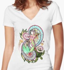 Faceless Girl, Paisley Mermaid Women's Fitted V-Neck T-Shirt
