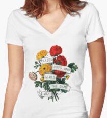 Camiseta entallada de cuello en V Criar niños y niñas de la misma manera