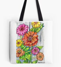Zinnias by the Fence Tote Bag