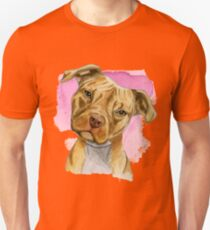 Pit Bull Dog with a Head Tilt Watercolor Painting Unisex T-Shirt