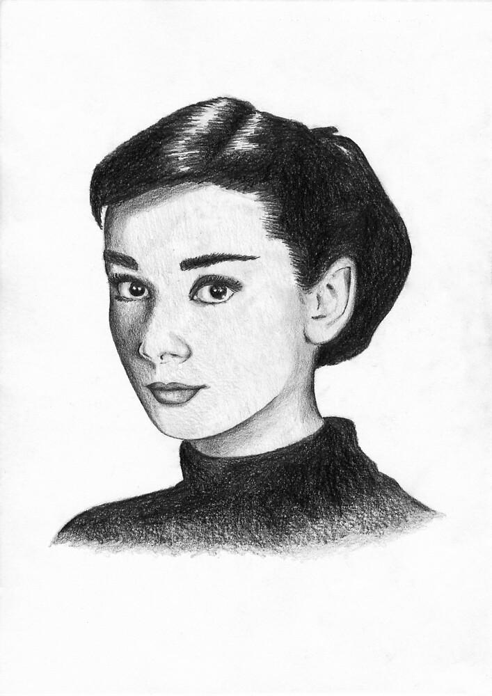 Hand drawn Audrey Hepburn by lusatia