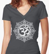 Ohm Symbol Meditation Symbol  Women's Fitted V-Neck T-Shirt