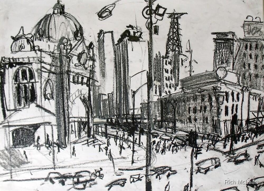Rapid Sketch of Flinders Street, Melbourne by Rich McLean