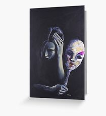 The Mask She Hides Behind Greeting Card