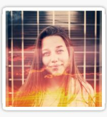 Young Woman with Double Exposure Effect. Sticker