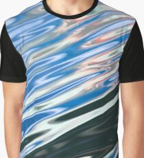 Blue Black Abstract Water Graphic T-Shirt