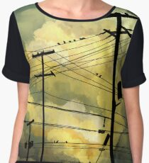 green sky telephone wires Chiffon Top