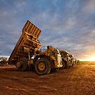 Komatsu trucks- Sunset At Salt Creek  by Chris Paddick
