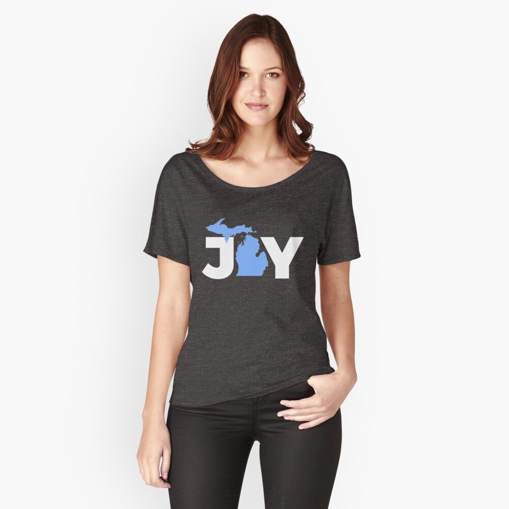 Joy Michigan Christmas State Pride Graphic  Women's Relaxed Fit T-Shirt Front
