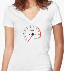 NISSAN N カ ン ン ン (NISSAN skyline) R32 NISMO rev counter Women's Fitted V-Neck T-Shirt