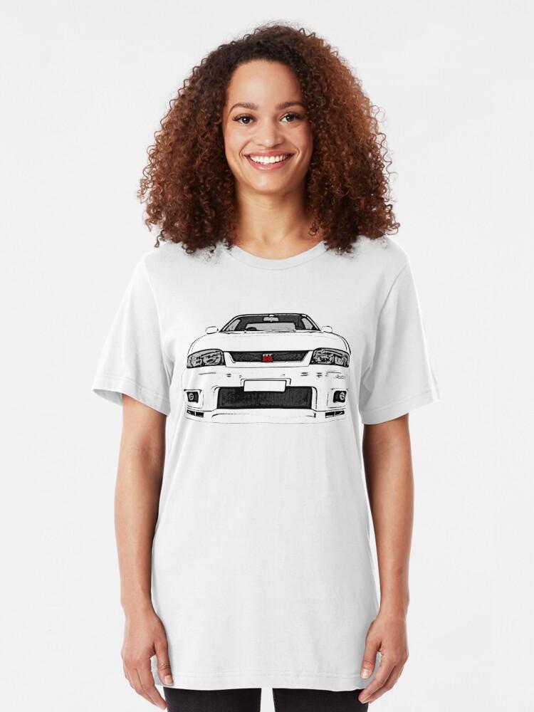 Alternative Ansicht von Nissan Skyline R33 GT-R (front) Slim Fit T-Shirt