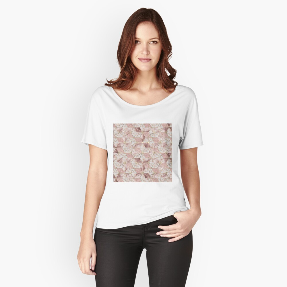 Modernes Rosengoldgeometrisches Sternblumenmuster Loose Fit T-Shirt