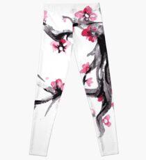 Watercolor Spring blossoms - japanese symbol Leggings