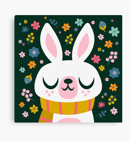 Bunny Wearing a Scarf and Flowers Canvas Print